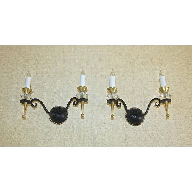 1930s Art Deco Brass Crystal and Painted Iron Sconces - a Pair For Sale - Image 10 of 11