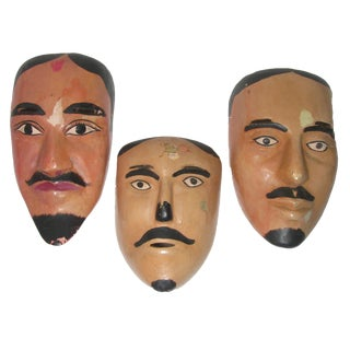 Vintage Hand-Carved Mexican Dance Masks, Set of 3 For Sale