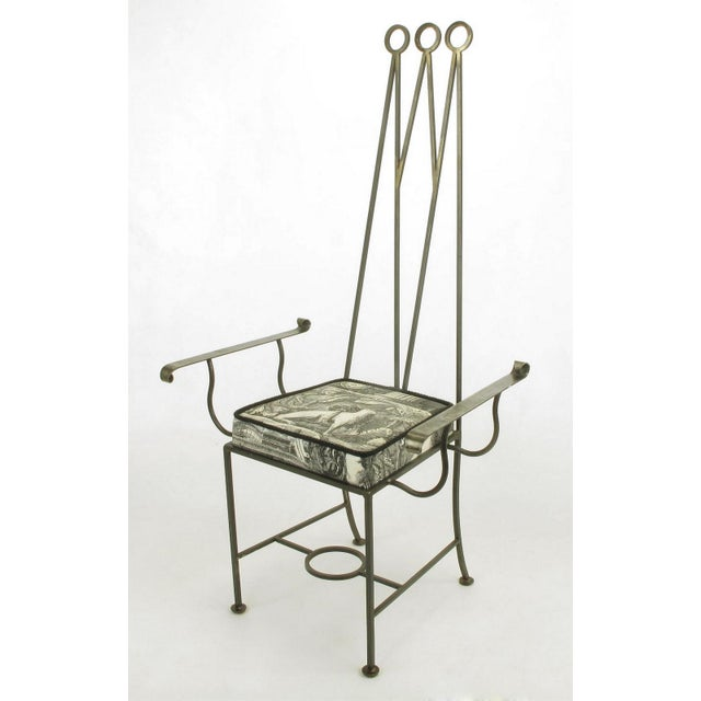 """1970s Set of Eight Blackened, Wrought Iron, Tall """"Royal"""" Dining Chairs For Sale - Image 5 of 10"""