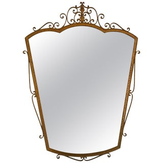 Mirror Wrought Iron Gold Leaf by Pier Luigi Colli, Italy, 1950s For Sale