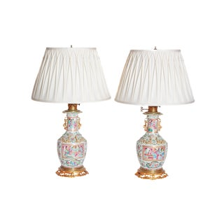 Pair of 19th Century Chinese Rose Medallion Vases Mounted as Lamps For Sale