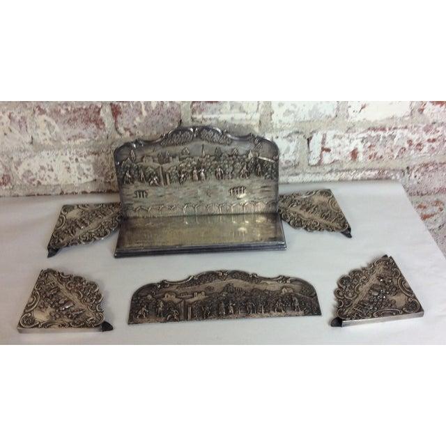 Antique Silver Plated Calendar Desk Set - 9 Pieces For Sale - Image 10 of 10
