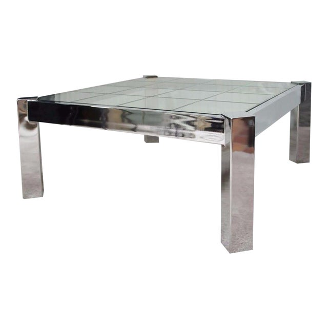 204f03cc44eb5 Vintage Mid Century Modern Chrome Etched Glass Square Coffee Table Pace  Baughman For Sale