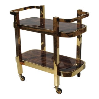 Modern Design Rolling Bar Cart With Marble Inserts For Sale