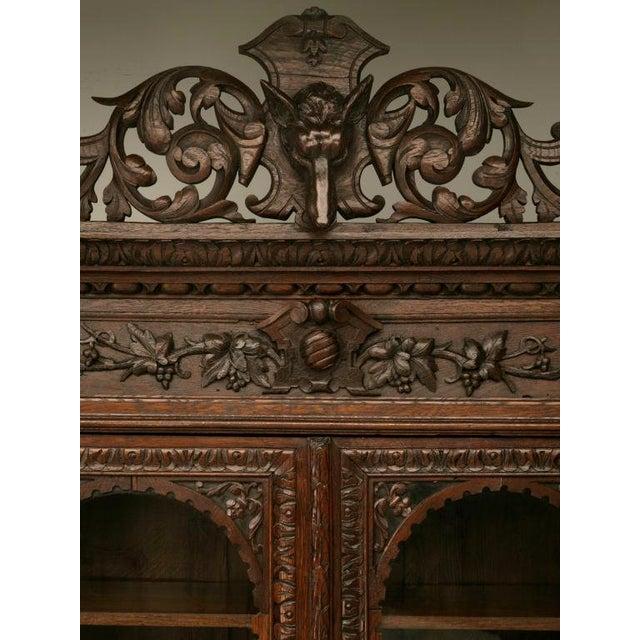 Wood Antique French Carved Oak Hunt Cabinet For Sale - Image 7 of 10