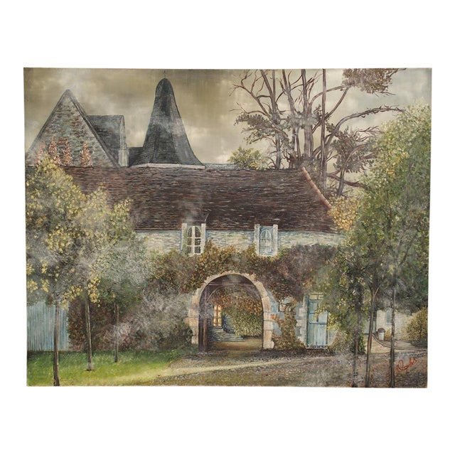 1950s Vintage French Country Manor House Signed Canvas Painting