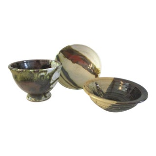 1980s Vintage Studio Art Pottery Bowls - Set of 3 For Sale