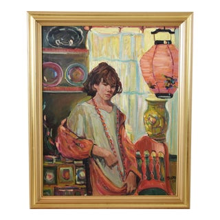 Portrait Oil Painting Woman W/ Coral Beads, Chinese Lantern & Red Chair New Gold Frame For Sale