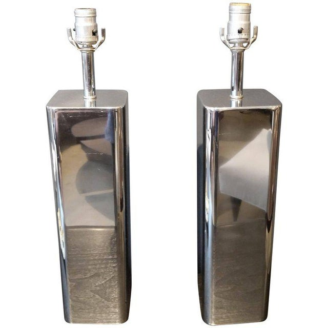 1970s Modern Polished Chrome Table Lamps - A Pair - Image 2 of 7
