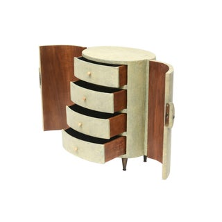 R & Y Augousti Shagreen Covered Jewelry Cabinet For Sale