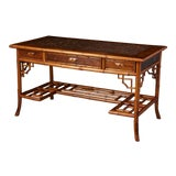 Image of Early 20th Century French Bamboo Leather Top Desk With Drawers, Circa 1920's For Sale