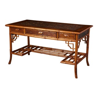Early 20th Century French Bamboo Leather Top Desk With Drawers, Circa 1920's For Sale