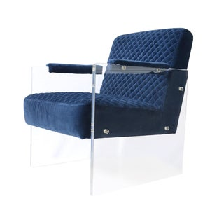 Pasargad Tribecca Collection Acrylic & Blue Velvet Accent Chair For Sale