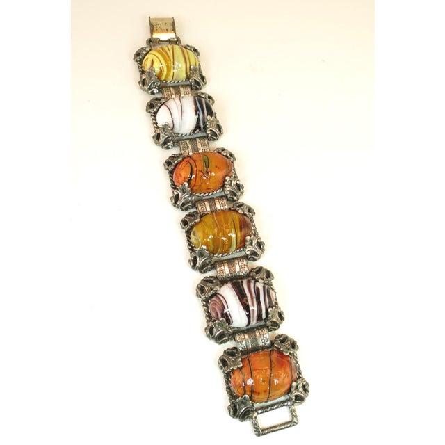Mid-Century Selro Agate Art Glass Florentine Link Bracelet, 1950s For Sale - Image 4 of 13