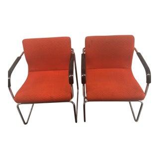 1970s Vintage Mid Century Tubular Chrome Orange Tweed Chairs - a Pair For Sale