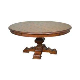 Rustic Large Round Dining Table W/Outside Leaves