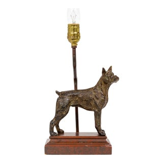 Cast Bronze Dog Sculpture Lamp For Sale