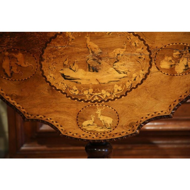 19th Century Swiss Black Forest Carved Walnut Side Table With Deer Inlay Scenes For Sale - Image 9 of 10