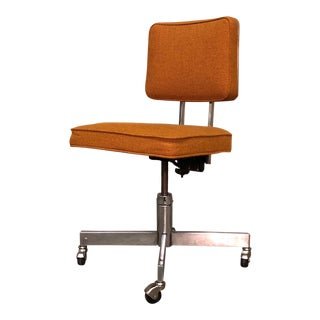 Gold Tweed Mid-Century Modern Swivel-Tilt Desk Chair / By Delwood Furniture