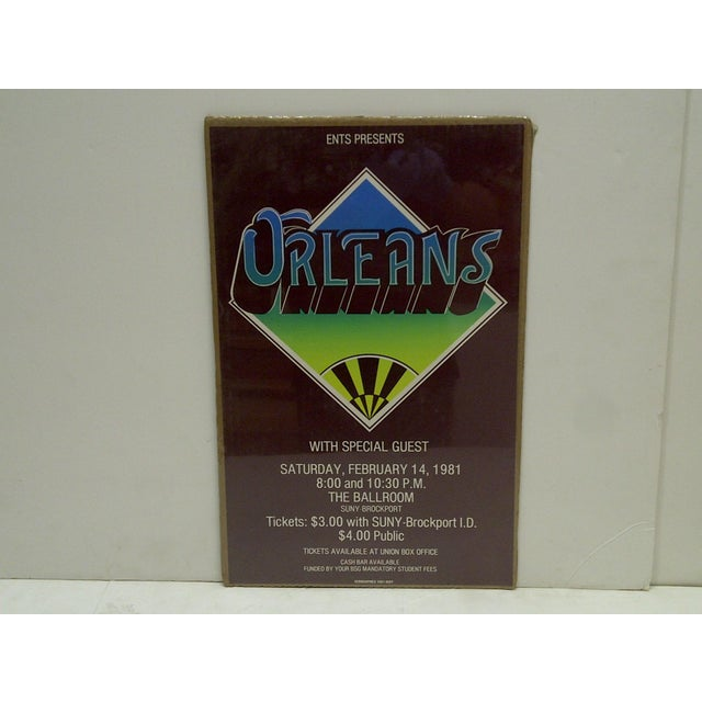 """This is a Vintage -- Concert Poster -- """"Orleans"""" -- SUNY-Brockport -- February 14, 1981 -- The Poster Is Shrink-Wrapped To..."""