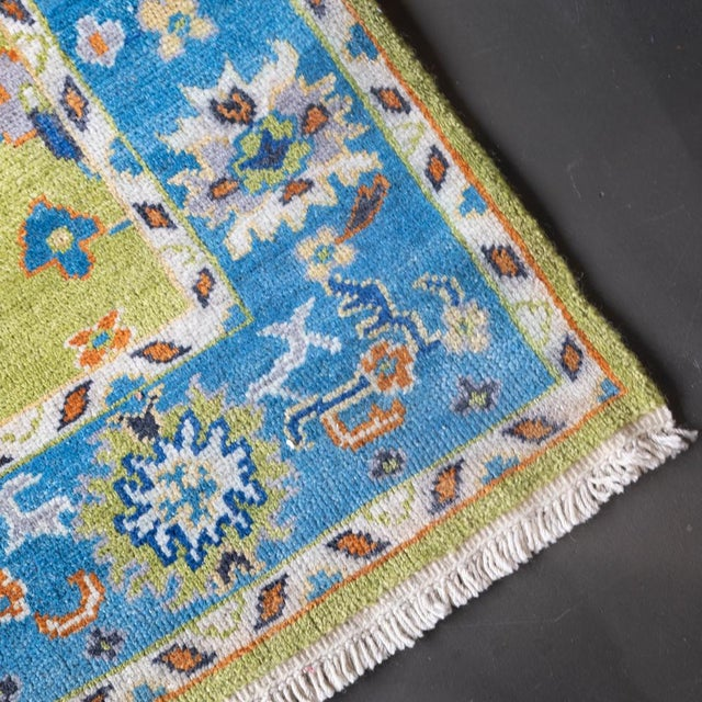 Islamic Blue Woven Hand Knotted Rug-4' x 6' For Sale - Image 3 of 4