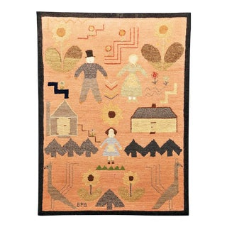 American Folk Art Pictorial Hooked Rug, Late 19th Century.