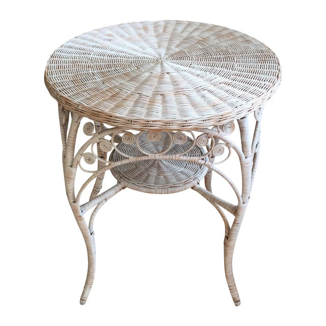 Vintage White Wicker Side Table - Image 1 of 6