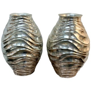 Pair of French Modern Silver Plated Vases For Sale