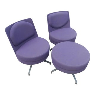 """Steelcase Coalesse """"Topo"""" Swivel Lounge Chairs and Matching Ottoman Set- 3 Pieces For Sale"""
