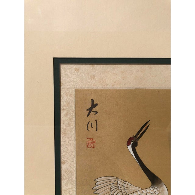 Asian Cranes Watercolor on Silk For Sale In West Palm - Image 6 of 8