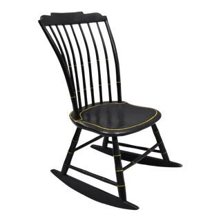 Antique Hitchcock Style Child's Black Bow Back Windsor Rocking Chair For Sale