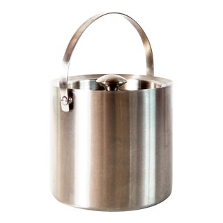 Vintage Mid Century Modern Insulated Stainless Steel Ice Bucket For Sale