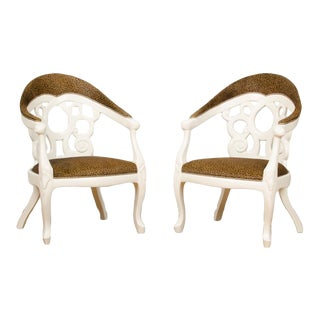 1970s Vintage White Lacquered Armchairs Designed by D.Barrett - a Pair For Sale