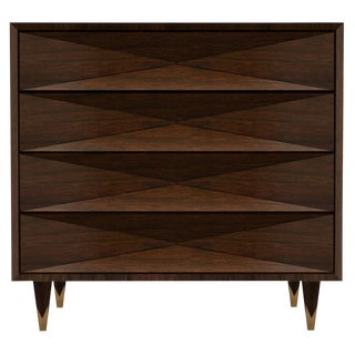 Customizable Faceted Walnut Dresser For Sale