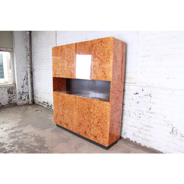 Mid-Century Modern Leon Rosen for Pace Collection Burl Wood Lighted Bar Cabinet or Wall Unit For Sale - Image 3 of 13
