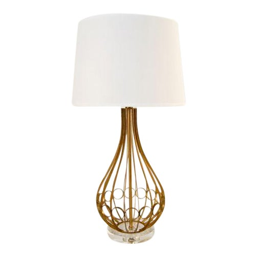 Contemporary Worlds Away Westin Lamp in Gold Leaf With Acrylic Base For Sale