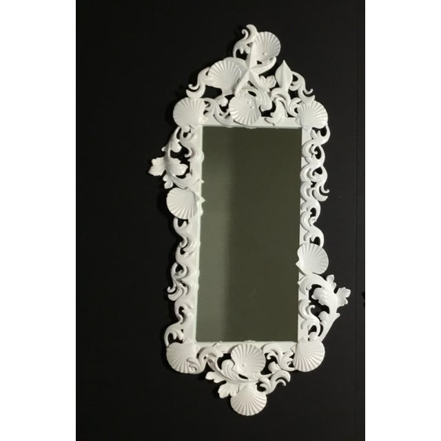 Cast Iron White Sea Shell Mirrors - a Pair For Sale - Image 7 of 13