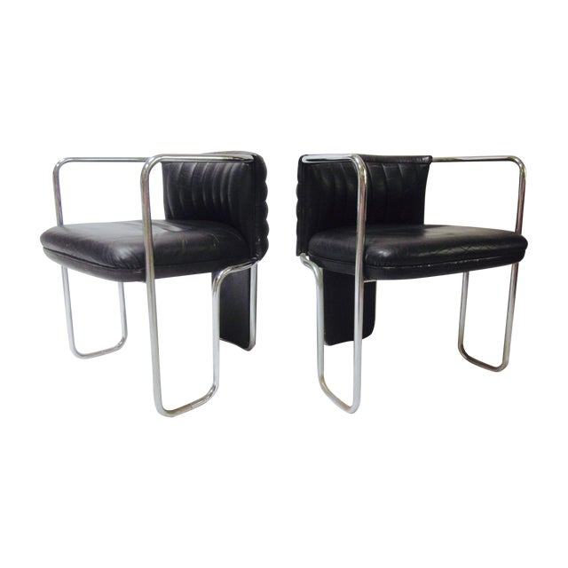 Poltrona Frau Leather Chairs- A Pair - Image 1 of 11