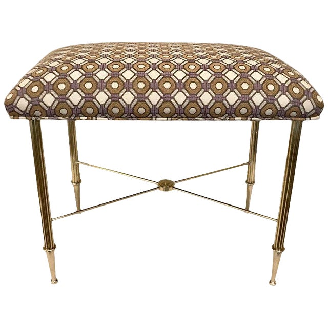 French Upholstered Brass With Reeded Legs Bench / Stool For Sale