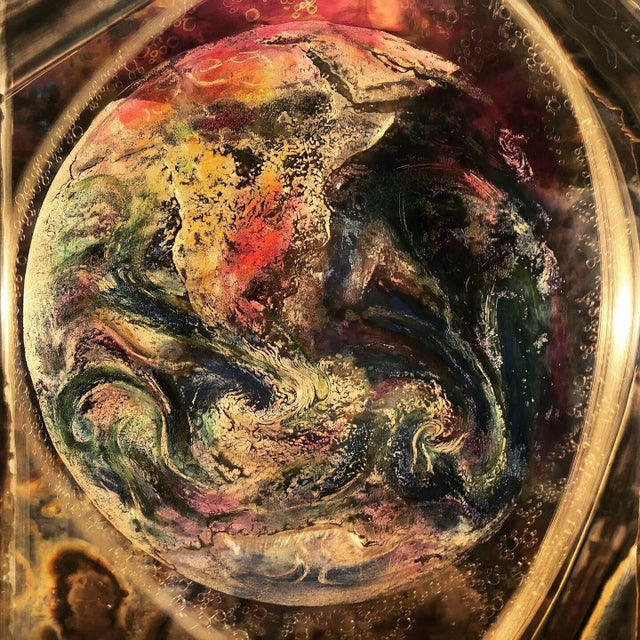 'Earth, Space, Time' acid-etched brass piece by Canadian artist Bernard Rohne. Amazing texture and form by this artist...