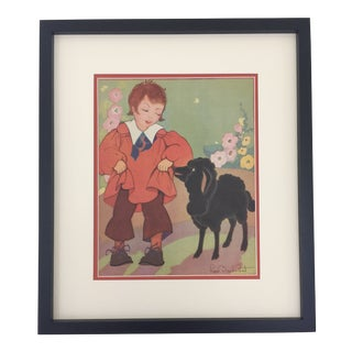 "Framed ""Baa, Baa, Black Sheep"" Nursery Rhyme Print by Fern Bisel Peat For Sale"