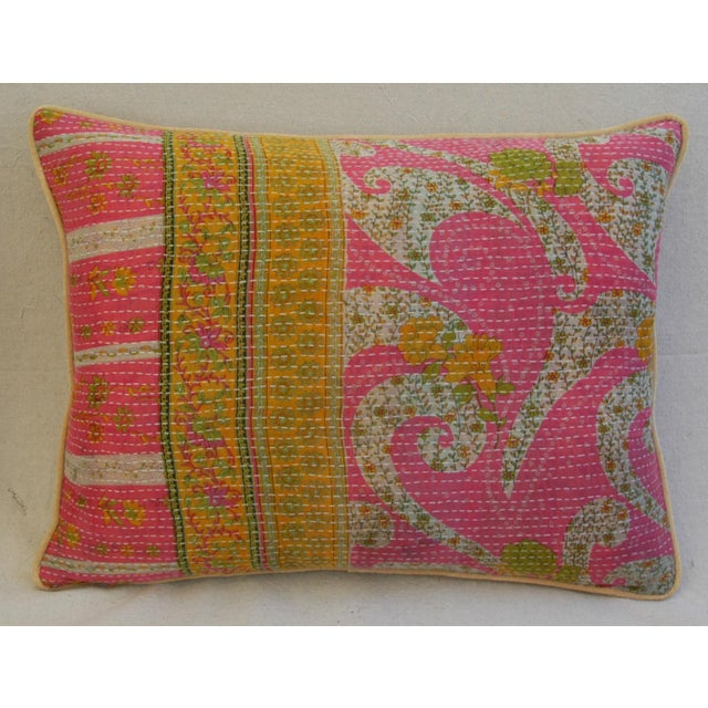 Vintage Kantha Textile Pillows - a Pair For Sale - Image 4 of 11