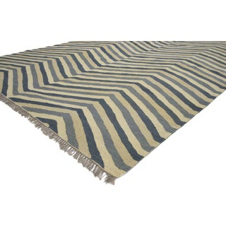 Contemporary Kilim Herringbone Chevron Design Area Rug - 6′3″ × 8′9″ Preview