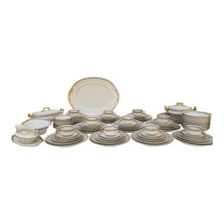 1930s Early 20th Century Art NouveauGold and Floral Painted Limoges M Redon China - 90 Piece Set For Sale