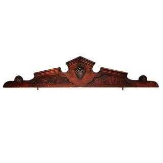 Antique Architectural Salvage Carved Wood Pediment Crest