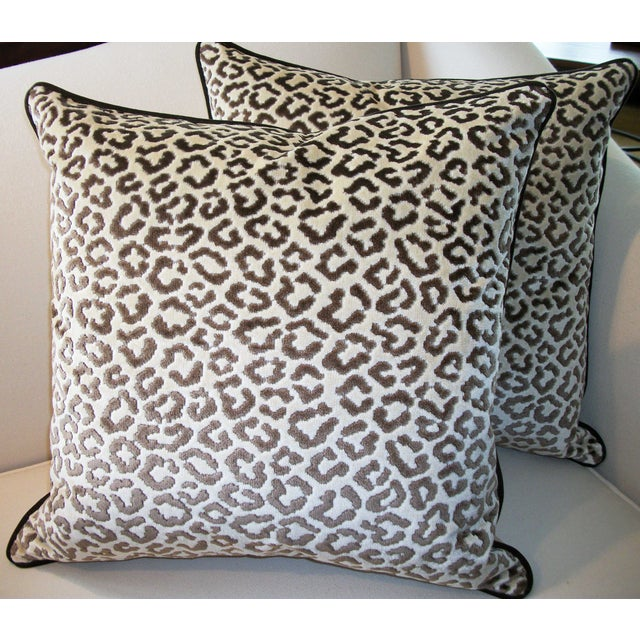 Lee Jofa High End Leopard Velvet Pillows - A Pair - Image 4 of 7