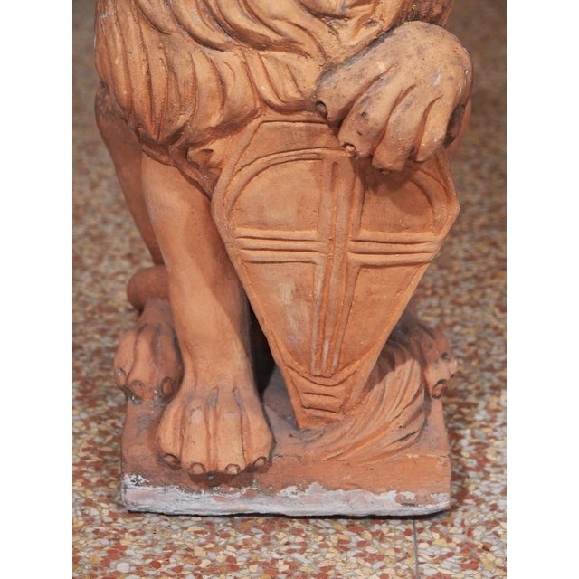 Ceramic Early 19th Century Italian Terra Cotta Lions - Pair For Sale - Image 7 of 9