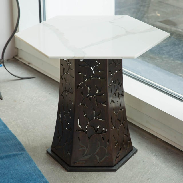 Carrara Marble Carrara Marble-Topped Side Table by Gregory Clark For Sale - Image 7 of 7