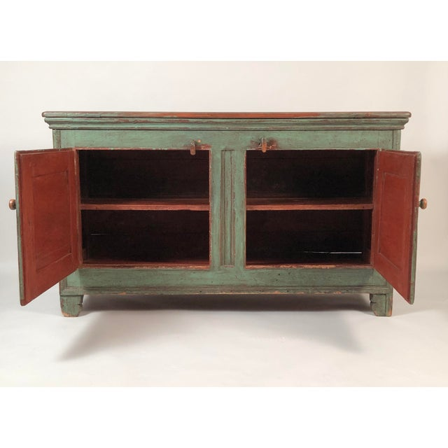 French Country Canadian Green Painted Side Cabinet For Sale - Image 4 of 13