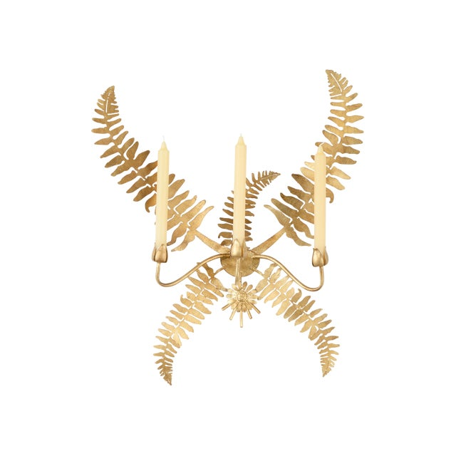 Chelsea House Inc Gold Fern Leaf Sconce For Sale